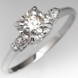 1950s Vintage Diamond Engagement Ring Illusion Set 14K White Gold