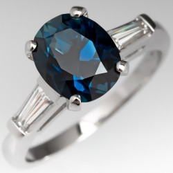 2.4 Carat Deep Teal Sapphire Engagement Ring Platinum w/ Baguettes