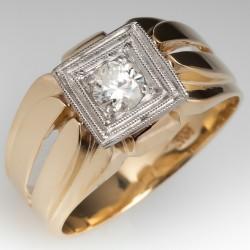 Vintage Mens Diamond Wedding Ring 10K Yellow Gold