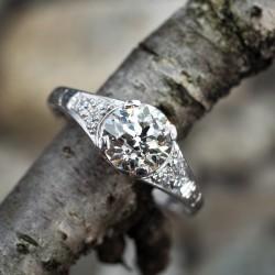 1930's Old European Cut Diamond Platinum Engagement Ring