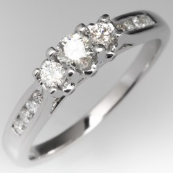 Three Stone Modern Petite Engagement Ring 14K White Gold