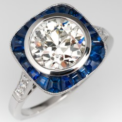 Old European Cut Diamond Engagement Ring Sapphire Accents Platinum