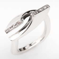 Diamond Bypass Ring European Shank 14K White Gold