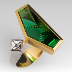 Munsteiner Green Tourmaline Diamond Ring Platinum 18K Gold