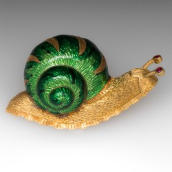 Snail Pin 18K Yellow Gold & Enamel