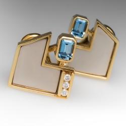 Vintage Aquamarine Diamond Earrings 18K Gold