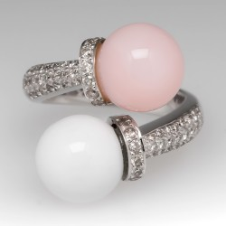 Pink Opal & White Agate Bypass Cocktail Ring w/ Diamonds 18K