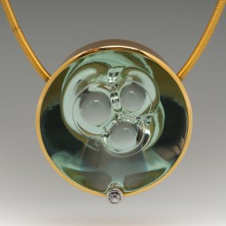 Munsteiner Beryl & Spirit Sun Diamond Pendant Necklace 18K Gold