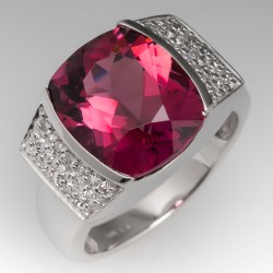 8 Carat Tourmaline & Diamond Cocktail Ring 14K White Gold