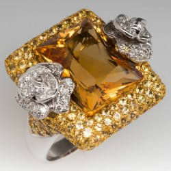 Ladies 12 Carat Citrine Cocktail Ring w/ Yellow Sapphire and Diamonds