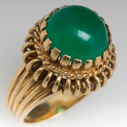 Chalcedony Cabochon Vintage Cocktail Ring 18K Yellow Gold