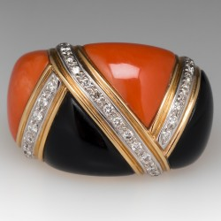 Coral Onyx & Diamond Dome Cocktail Ring 18K Gold