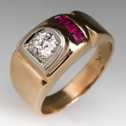 Men's Retro Diamond Ruby Ring