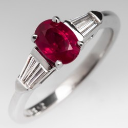 Oval Ruby Diamond White Gold Engagement Ring