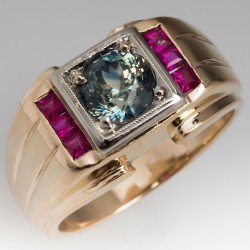 Mens 1940's Retro Ring w/ Created Rubies & Blue Green Sapphire 14K