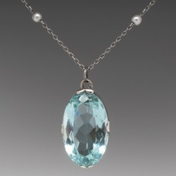 "Natural 16 Carat Aquamarine & Pearl Pendant 18.5"" Necklace 14K White Gold"