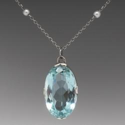 "Natural 16 Carat Aquamarine & Pearl Pendant 18.5"" Necklace 14K White Gold"
