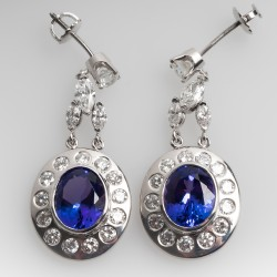 Vibrant Tanzanite & Diamond Dangle Earrings 14K White Gold