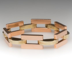 "1940's Retro Green & Rose Gold 7 3/4"" Link Bracelet 14K"