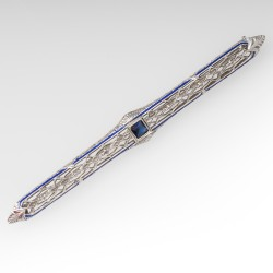 1930's Art Deco Filigree Pin w/ Created Sapphire & Blue Enamel Details