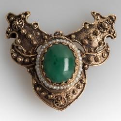 Vintage Jade & Seed Pearl Brooch / Slide Pendant 14K