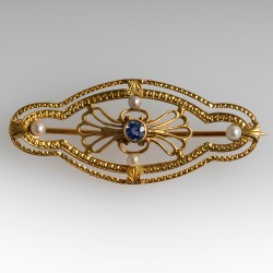 Antique Victorian Era Brooch Pin Sapphire & Pearls 18K Gold