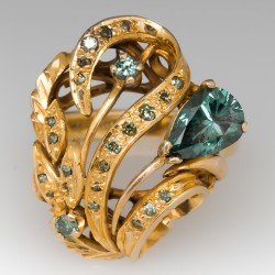 Blue Diamond Estate Cocktail Ring Custom 14K Gold