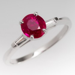 1 Carat Oval Ruby Vintage Ring w/ Diamond Accents 14K