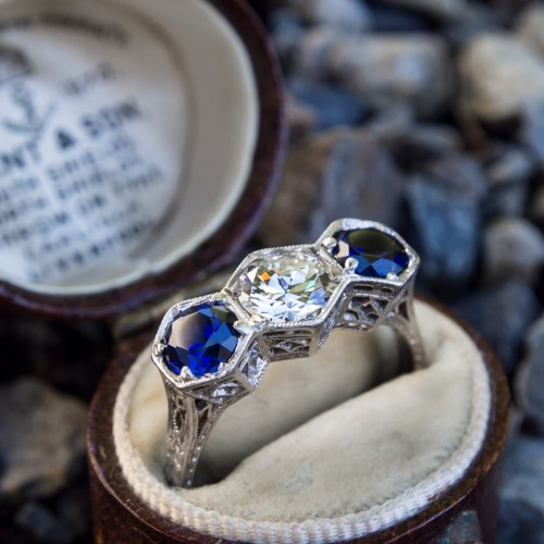 Antique Filigree Three Stone Ring Diamond & Sapphires in Platinum