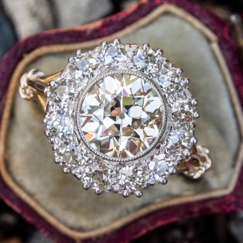 GIA Breathtaking Old Euro Diamond Halo Engagement Ring