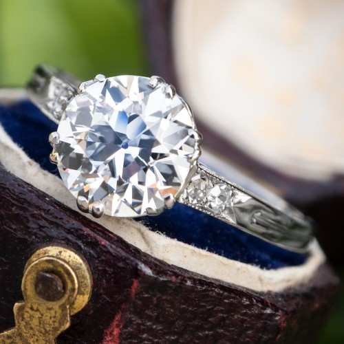 GIA 1.6 Carat E/SI1 Old Euro Diamond Antique Engagement Ring