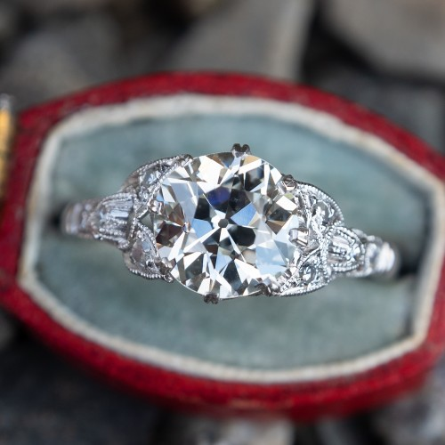 Detailed Antique Engagement Ring 1930s GIA 1.5Ct