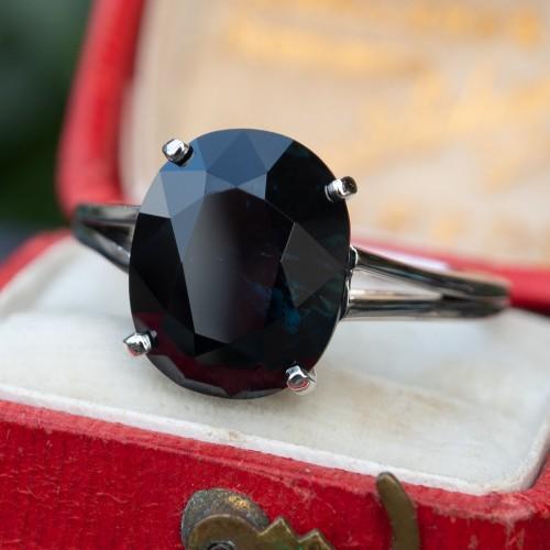 5.8 Carat Very Dark Green-Blue Sapphire Solitaire Ring Platinum
