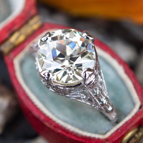 3 Carat Old European Cut Diamond Engagement Ring Filigree