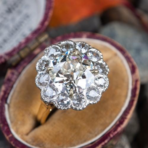 2.5 Carat Old Mine Cut Diamond Halo Engagement Ring GIA Cert
