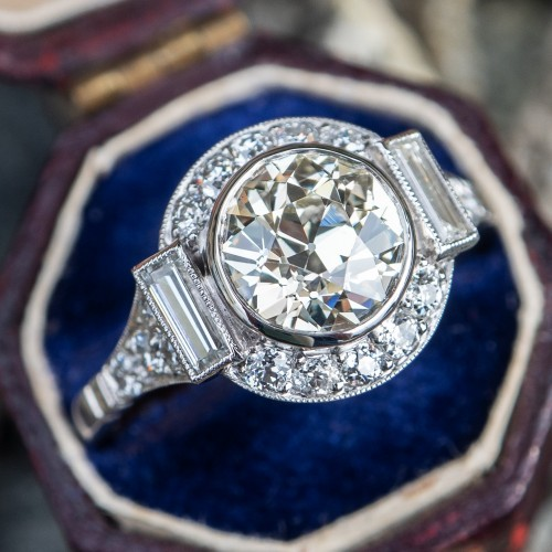1.7 Carat Old Euro Diamond Engagement Ring Platinum GIA Cert