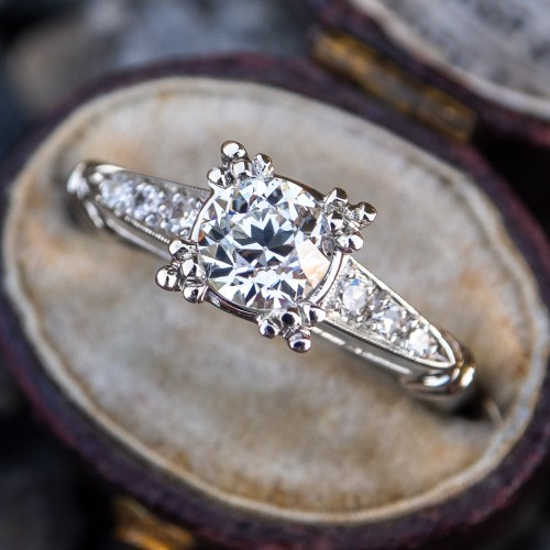 GIA Vintage Transitional Cut Diamond Engagement Ring Platinum