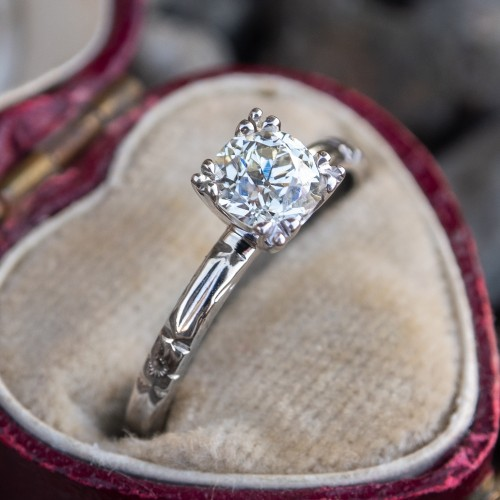 GIA Old Euro Diamond Engagement Ring Vintage Engraved Wedding Band