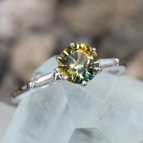 No Heat Green-Yellow Sapphire Engagement Ring 14K
