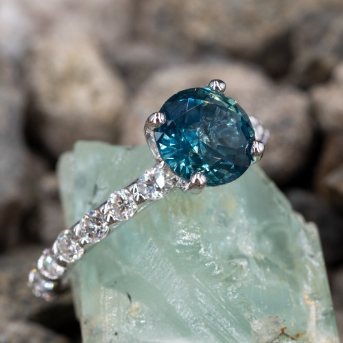 No Heat Icy Blue Green Sapphire Engagement Ring 14K