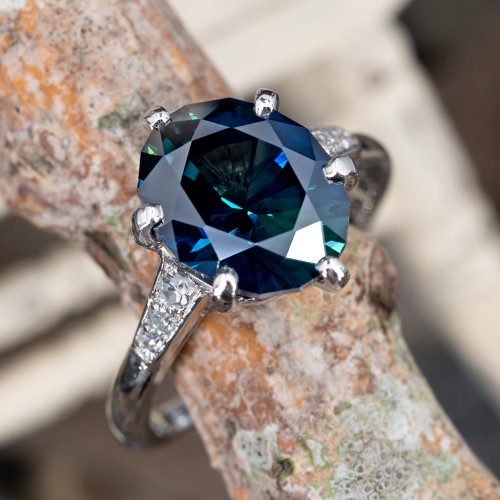 5 Carat Untreated Dark Teal Oval Sapphire Engagement Ring