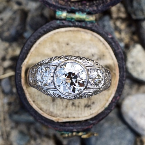 European Cut Diamond Bezel Set in Platinum 1910's Antique Ring