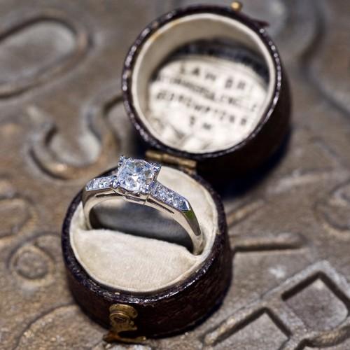 Heirloom Old Mine Cut Diamond Engagement Ring Platinum