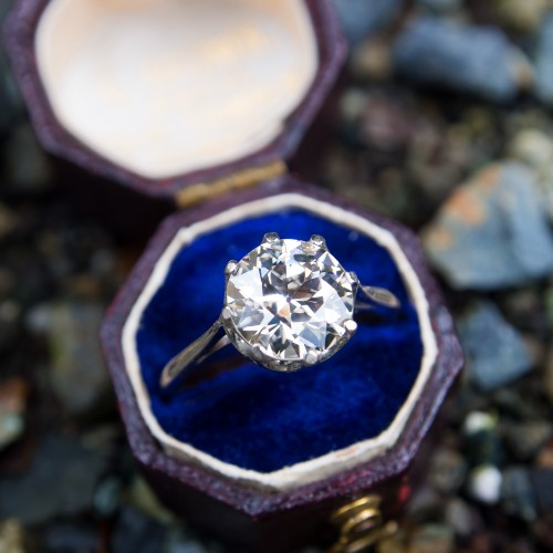 Antique Crown Solitaire Engagement Ring 2 Carat Old Euro Diamond