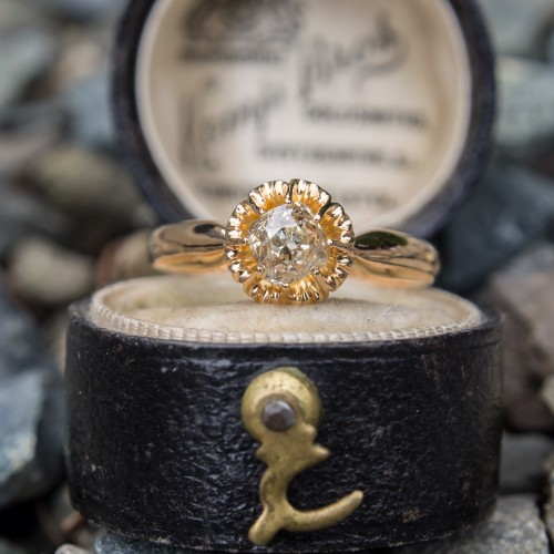 Late Victorian Old Mine Cut Diamond Engagement Ring 22K Gold