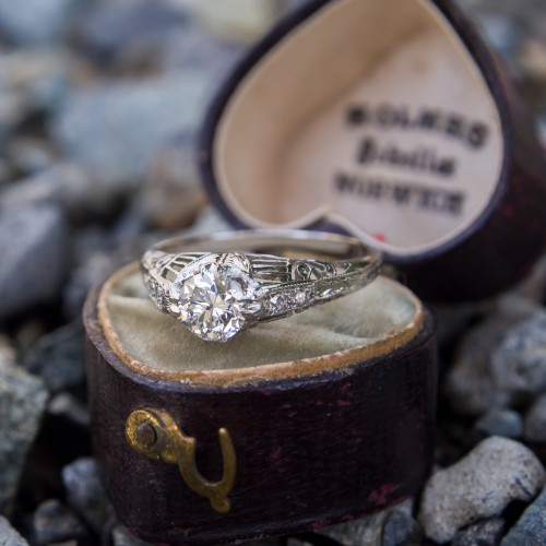 Vintage Engagement Ring Transitional Cut Diamond GIA E/VS2 & Antique Heart Box - EraGem Valentine's Giveaway