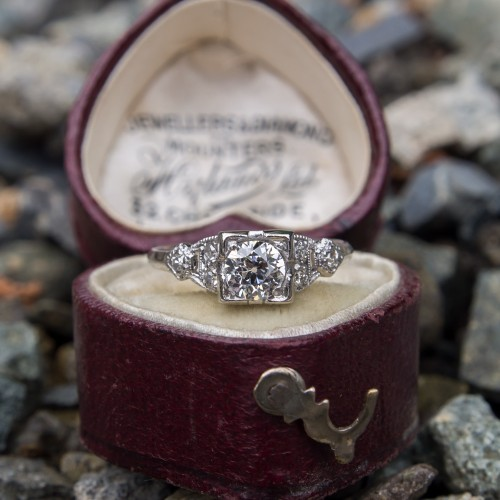 Beautiful 1930's Old European Cut Diamond Engagement Ring Platinum