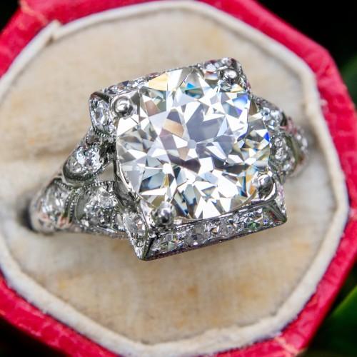 GIA 2.9 Carat Old European Cut Diamond Art Deco Engagement Ring