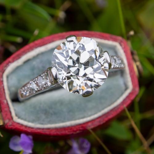 GIA 3.4 Carat Old Mine Cut Diamond Antique Engagement Ring Platinum
