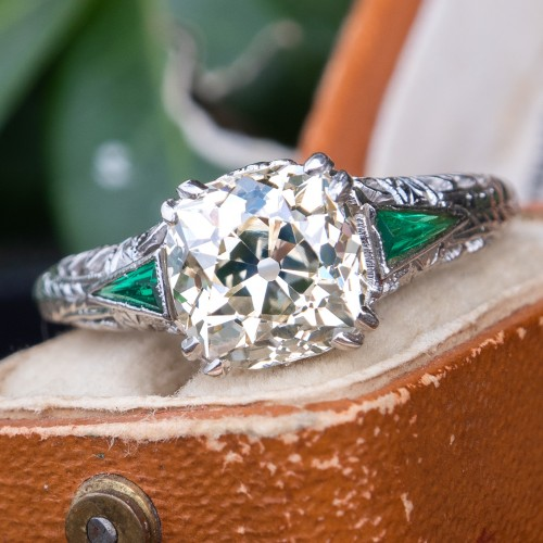 2 Carat Antique Cushion Cut Diamond Filigree Engagement Ring